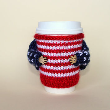 4th of July coffee cozy. Whimsical cup sweater. Hand knit cup sleeve. Independence day. Red white blue. Stripes stars. Starbucks cup sleeve