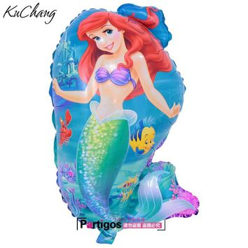 50pcs 70*40cm Little Mermaid foil balloons Ariel of cartoon princess ballon helium kids birthday decor globos party supplies