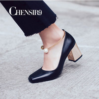 CHENSIR9 Genuine Leather Women Pumps Metal Square Heels Slip On Pearl decoration Ladies Shoes Zapatos Mujer size 34-43 AF28B
