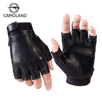2017 Sports Half Finger Gloves Men Faux Leather gym weight lifting mittens fingerless Tactical Gloves Men Women mittens Sports