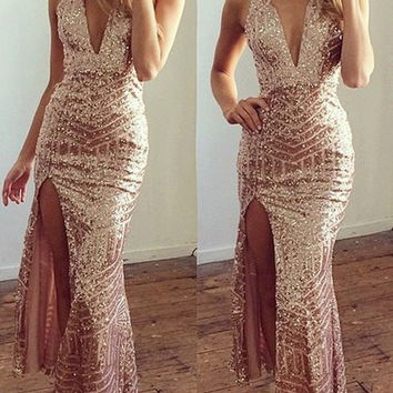 Golden Deep V Sequined Side Slit Maxi Dress
