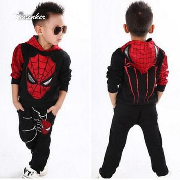 Tonlinker Spiderman Baby Boys Clothing Sets Suit For Boys Clothes Spring Spider Man Costume Cosplay Halloween carnival Birthday