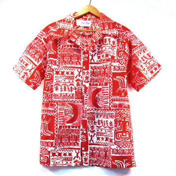 Vintage Hawaiian Shirt with Loop Collar / Medium / Rai Nani / Red and White Tribal Hawaii Print / Mens Clothing