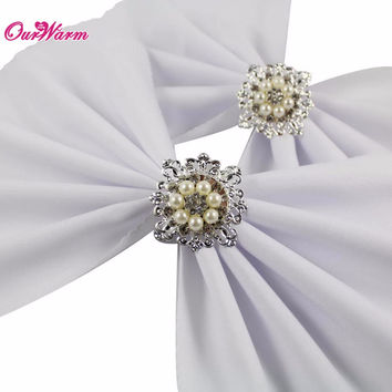 10pcs Silver Wedding Pearl Napkin Rings Serviette Holder High Quality Diamond Table Decoration Accessories Kitchen Dining Bar