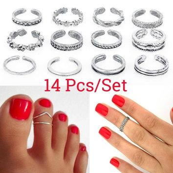 14Pcs/set Celebrity Women Fashion Toe Ring Adjustable Foot Finger Beach Jewelry Silver