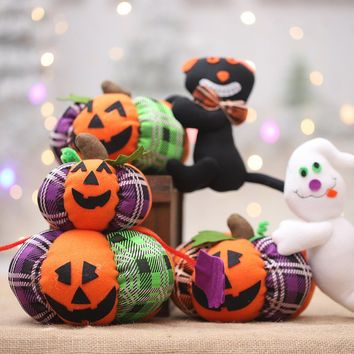 Halloween Desktop Pumpkin Black Cat Doll Creative Plush Toys Accessories for Halloween Night Party Decoration Kids Gifts
