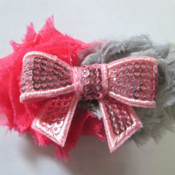 Girls pink headband, preemie, micro preemie, infant toddler elastic hairband with sequin bow and shabby chic frayed  grey and pink flowers,