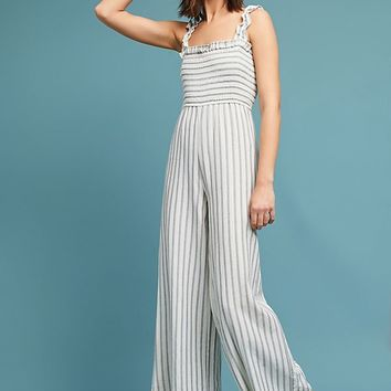 Smocked and Striped Jumpsuit