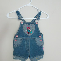 Vintage Minnie Mouse Baby Girl 2T Overalls