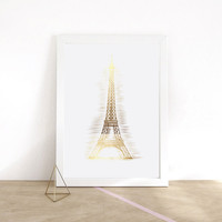 Eiffel Tower, Real Gold Foil Print,  Gold Paris Art, Paris Wall Decor, Home Office Decor, Gold Eiffel Tower, Paris Art Decor, Love Wall Art.