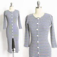 Vintage 1980s Knit Dress - Blue & White Striped Knit Shirt Front Body Con - XS Extra Small