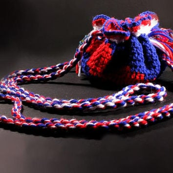 Crochet Drawstring Pouch with Leather Interior in Patriotic Red, White and Blue