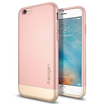iPhone 6s Case, Spigen® [Style Armor] Safe Slide [Rose Gold] SOFT-Interior Scratch Protection Metallic Finished Dual Layer Case for iPhone 6s (2015) - Rose Gold (SGP11724)