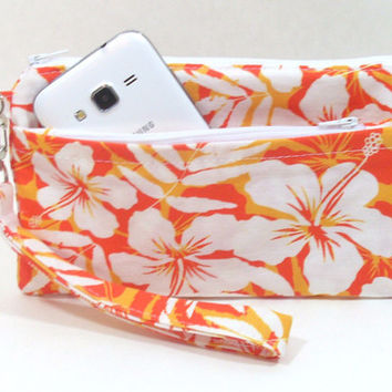 Orange Beach Floral Phone Clutch with Wristlet