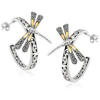 Scrollwork and Dragonfly Motif Half Hoop Earrings in 18K Yellow Gold and Sterling Silver