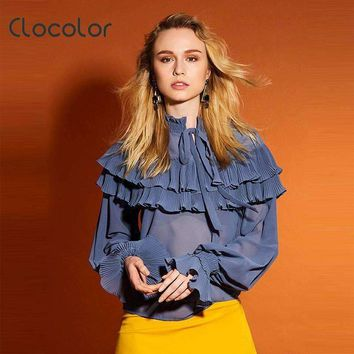 Clocolor Women Blouse Slim Long Sleeve Ruffled Collar Falbala 2018 New Sweet Girl  Patchwork Summer Orange Blouse Women Blouse