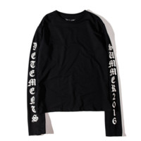 Letters OVERSIZE long section of the long sleeve sweater men and women Black
