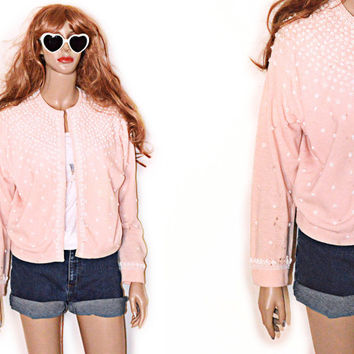60s Blush Beaded Soft Grunge Cardigan Pink Peach Sweater angora wool