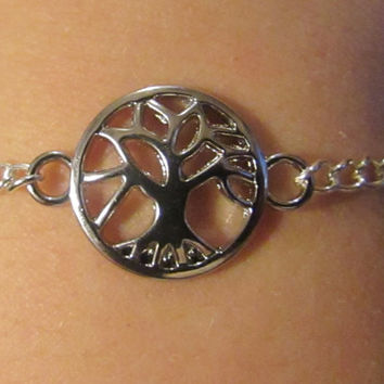 Tree of Life Dainty Simple Bracelet, Tree of Life Anklet, 2 inch extender chain, custom length