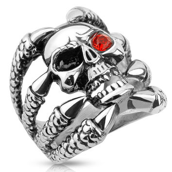 Dragonskull – Skull with red cubic zirconia eye dragon claw stainless steel men's ring
