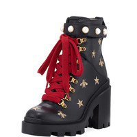 Gucci Embroidered Platform Hiking Boot