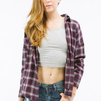 Dark Plaid Flannel Jacket with Hood