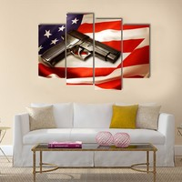 Handgun Lying On American Flag Multi Panel Canvas Wall Art
