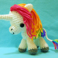 Rainbow Unicorn - Customization Available - Made to Order - Crocheted Plush Art Doll