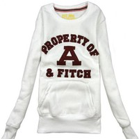 White Round Neck Sports Cotton Sweatshirt$38.00