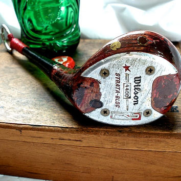 Antique Golf Club Bottle Opener-- Rustic Red Vintage Wilson 3 Wood --OOAK