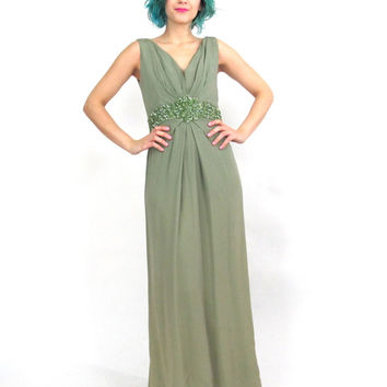 60s Sequin Evening Gown Moss Green Empire Waist Maxi Dress 1960s Party Dress  Sleeveless Pleated Draped Evening Gown (S/M)