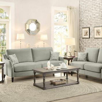 Home Elegance 8479-SL 2 pc banburry collection graphite grey fabric upholstered sofa and love seat set with nail head trim