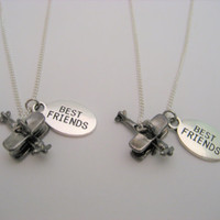 Airplane Necklace Set Best Friends Necklace Bff Necklace Plane Jewelry Plane Necklace Set   Matching Necklace