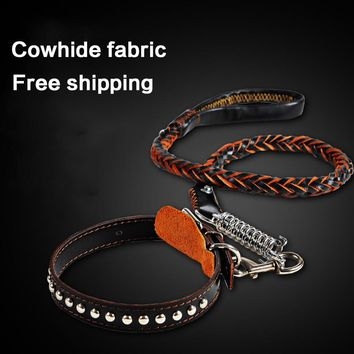 petcircle High Quality Genuine Leather Large Dog Leashes Pet Traction Rope Collar Set For Big Dog 2 color size M-XL freeshipping