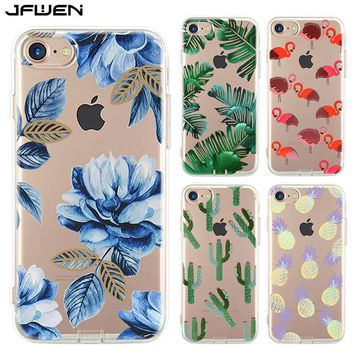 JFWEN For iphone 8 Case Silicone Clear Transparent Soft TPU Flamingo Ultra thin Phone Cases For iphone 8 Plus Case Cover Back
