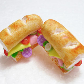 Sub sandwich earrings . Polymer clay.