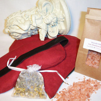Valentine's Bundle #1 ~~ HERBAL HEART/ Lavender EYE~ Hot / Cold Pack & Himalayan Bath Salts
