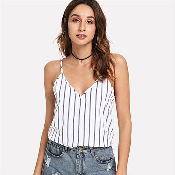 Casual Backless Double Deep V-Neck Striped Cami Top Women Going Out Sexy Vest