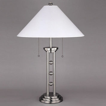 Chrome Table Lamp, with Details and White Shade   Magnum Table Lamp   American Freight