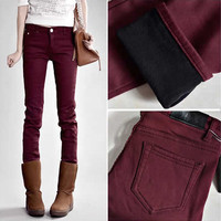 Fashion All-match Solid Color Tight Jeans Trousers