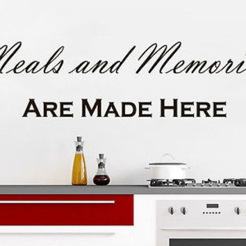 Wall Decals Quotes Meals and Memories are Made Here Kitchen Cafe Home Decor C400