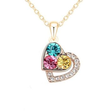 Gold Plated Austrian Crystal Pendants Necklace For Women