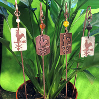 Rooster Plant Stakes, Plant Stakes, Copper Plant Stakes, Decorative Plant Stakes, Housewarming gift, Gift idea, Planter Stakes