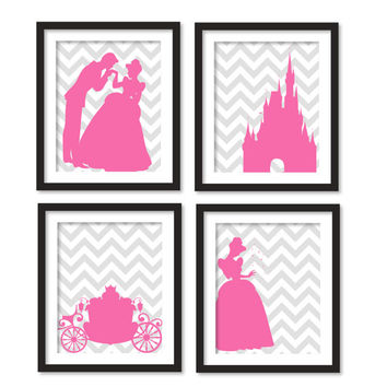 Nursery art - Silhouette of pink Cinderella, carriage, princes and Cinderella and castle, girl room art, gray chevron