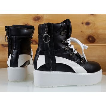 CR Trixie Black Platform Sneaker With Side Zipper & Work Boot Tread