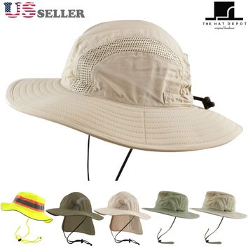 50 UPF Unisex Outdoor Safari Sun Mesh Bucket Boonie Hat UV Sun Protection