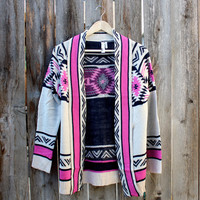 mod lightweight tribal cardigan aztec pink