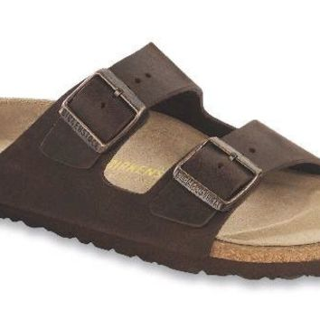 Women's Arizona Sandal with Oiled Leather in Habana with Soft Footbed by Birkenstock