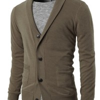 H2H Mens Basic Shawl Collar Knitted Cardigan Sweaters with Two Pockets BEIGE US M/Asia L (KMOCAL019)