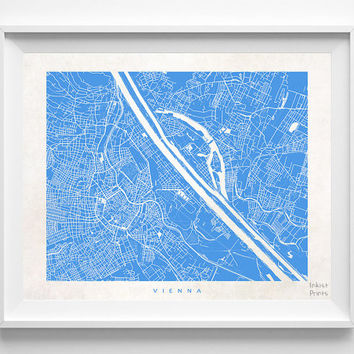 Vienna, Map, Austria, Poster, Europe, Print, Beautiful, State, Nursery, Decor, Town, Illustration, Room, World, House, Street [NO 587]